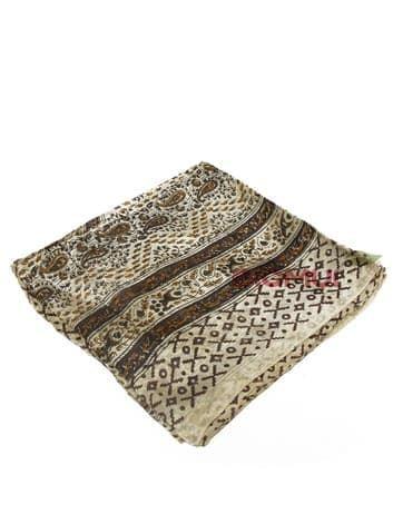 Шелковый платок (бежевый с насыщенно-коричневым принтом)