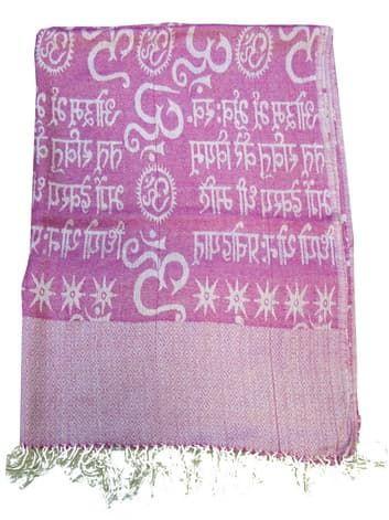 Шелковый платок с мантрами односторонний (розовый)