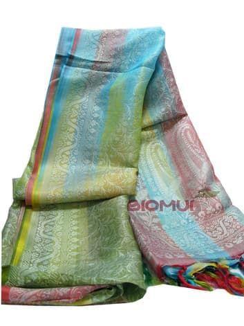 Шелковый платок с градиентной заливкой Хамелеон (индийский узор)Платки<br><br>