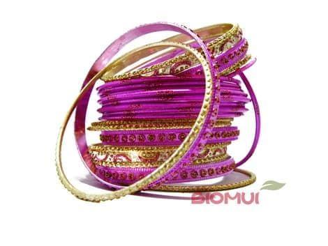 Индийский браслет-кольца (розовый\фиолетовый)