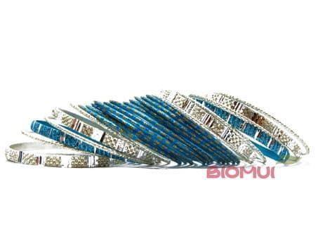 Индийский браслет-кольца (синий)