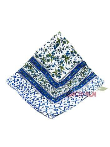 Шелковый платок с индийским узором (бежево-синий)Платки<br><br>