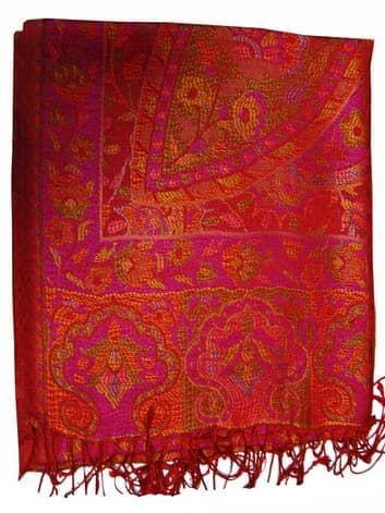 Шелковый платок с отливом плотный  двухсторонний (малиновый с оранжевым)Платки<br><br>