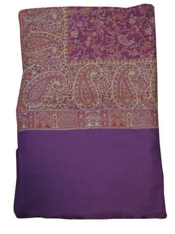 Шерстяной палантин с индийским принтом (фиолетовый)