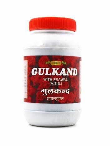 Джем из лепестков роз Гулканд Gulkand VyasПищевые и витаминные добавки<br>Гулканд - приготовленный на основе розовых лепестков с добавлением тростникового сахара и жемчужного кальция натуральный джем. Является аюрведической расаяной – продуктом, оказывающим на организм омолаживающее действие. Не имеет противопоказаний и может и...<br>