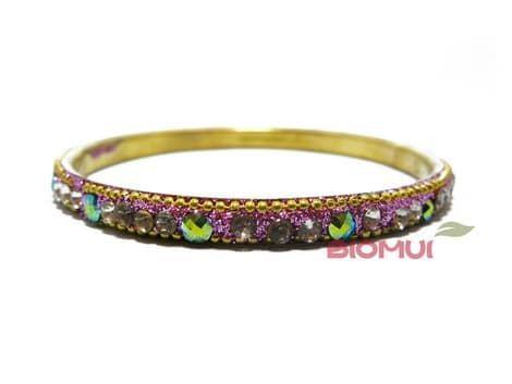 Индийский браслет со стразами тонкий (розовый)