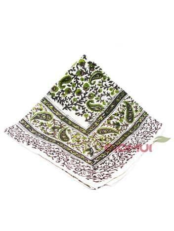 Шелковый платок с индийским узором (бежево-коричневый)Платки<br><br>
