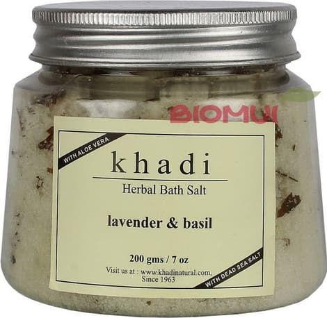 Травяная соль для ванны с лавандой и базиликом KhadiВсе для ванны<br>Соль обладает умиротворяющим, слегка травянистый, прохладным ароматом базилика и лаванды.<br>