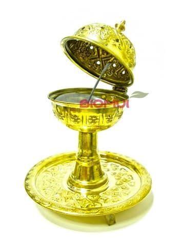 Железная углевая бахурница с круглой подставкой (отделка под золото)